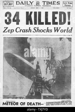 1937 tägliche Zeiten Startseite Hindenburg zeppelin Disaster - Stockfoto