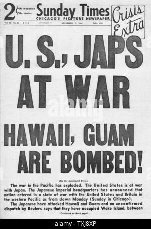 1941 Sunday Times (Chicago) japanischen Angriff auf Pearl Harbor - Stockfoto