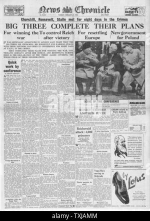 1945 Nachrichten Chronik Startseite Berichterstattung Churchill, Roosevelt und Stalin treffen sich die drei großen Konferenz in Jalta - Stockfoto