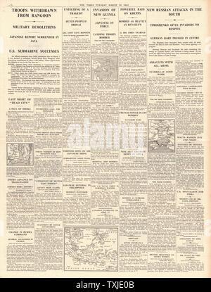 1942 Seite 4 Die Zeiten japanischen Streitkräfte capture Rangun und Land auf Neuguinea - Stockfoto