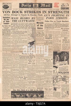 1942 Front Page Daily Mail deutschen Gegenoffensive in Charkow und Schießereien in den Straßen von Paris - Stockfoto