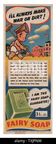 1945 UK Magazin Fairy Soap Advert - Stockfoto