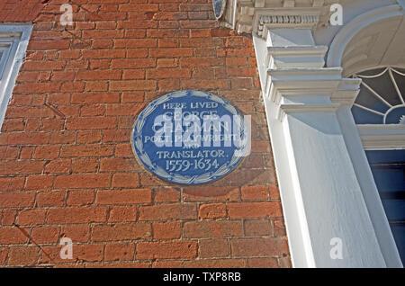 Stevenage Hertfordshire George Chapman blaue Plakette auf Haus - Stockfoto