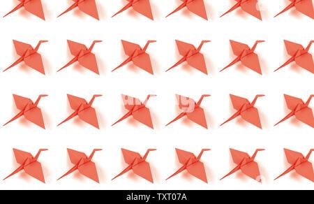 Muster aus Coral Kran auf weißem Hintergrund. - Stockfoto