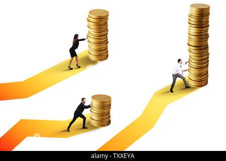 Unternehmer bewegt sich ein Stapel von Goldmünzen. Konzept der finanziellen Investitionen - Stockfoto