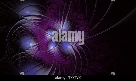 Abstrakte exotische Blume mit strukturierter Blütenblätter. Elegante Fraktale Blume auf einem schwarzen Hintergrund. Computergenerierte fraktale Design. Digitales Werk für zurück - Stockfoto
