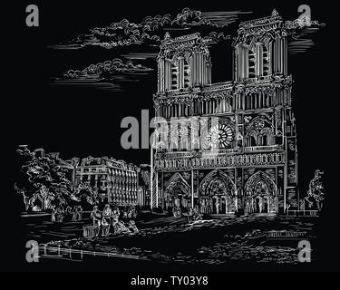 Vektor hand Zeichnung Abbildung der Kathedrale Notre Dame (Paris, Frankreich). Wahrzeichen von Paris. Stadtbild mit der Notre Dame Kathedrale. Vektor hand Zeichnung - Stockfoto