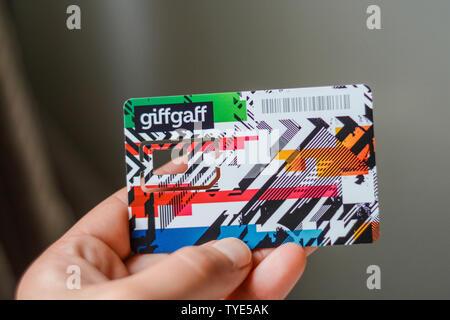 Giffgaff SIM-Kartenhalter - Stockfoto