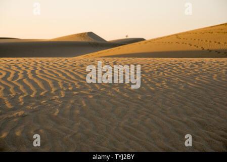 Wüste - die Dünen von Maspalomas, Kanarische Inseln, Aussicht auf Sanddünen - Stockfoto