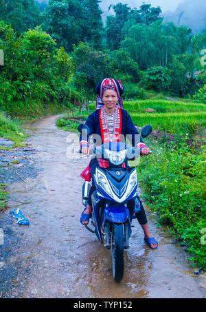 Frau aus dem Roten Dao Minderheit in einem Dorf in der Nähe von Ha Giang in Vietnam. - Stockfoto
