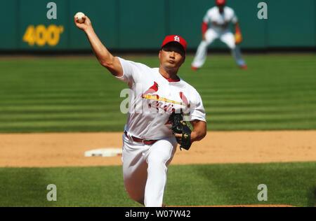 St. Louis Cardinals Krug Seung Hwan Oh liefert einen Pitch auf den San Diego Padres am Busch Stadium in St. Louis am 20. Juli 2016. Foto von Bill Greenblatt/UPI