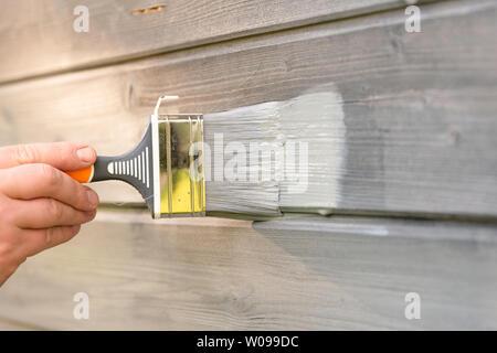 Arbeiterin Malerei Holzhaus Außenwand mit Pinsel und Holz schützende Farbe - Stockfoto