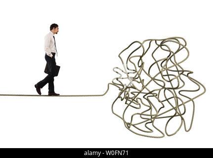 Problem und Schwierigkeit Konzept mit verworrenen Seil - Stockfoto