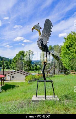 Vogel Phönix Skulptur, Greenwood, British Columbia, Kanada - Stockfoto