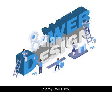 Web design banner Vektor Vorlage. Grafik und digitale Design Studio Arbeitnehmer Teamarbeit, suchen kreative Lösungen 3D-Figuren. Mobile App interface Entwicklung, Marktanalyse Abbildung - Stockfoto