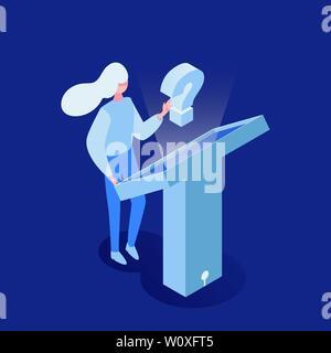 Frau suchen Informationen Vektor isometrische Darstellung. Futuristische Technologie, interaktive Monitor, Customer Support. Junge Mädchen stand vor der Touch Screen Display 3d cartoon Charakter - Stockfoto