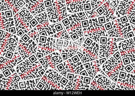 QR-Code mit Laserstrahl Hintergrund. Quick Response Code für Supermarkt, E-Commerce, Shop etc. - Stockfoto