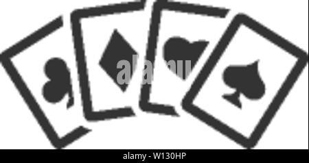 Karten in einer Farbe. Knan glücksspiel Freizeit set Form spaten Herz Ass - Stockfoto
