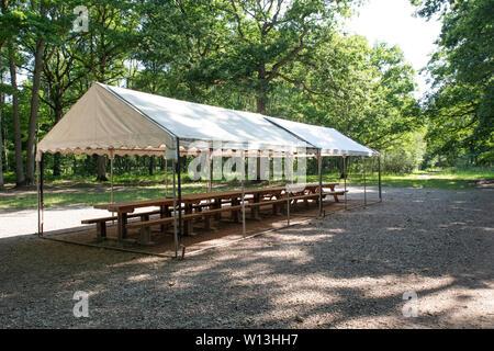 Holz- Tisch und Bank unter einem Schutz für Picknick im Wald in der Natur - Stockfoto