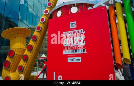 Montreal, Kanada, 29. Juni 2019. Hinweisschild auf den Montreal Jazz Festival in Montreal, Quebec, Kanada. Credit: Mario Beauregard/Alamy leben Nachrichten - Stockfoto