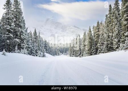 Verschneite Straße in einem bewaldeten Berg sceney im Winter