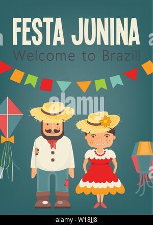 Festa Junina - Brasilien Juni Festival. Plakat für Folklore Urlaub. Cartoon Menschen und Festival Symbole. Vector Illustration. - Stockfoto