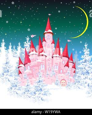 Cartoon rosa Schloss auf dem Hintergrund der Winter schneebedeckten Wald. Winterlandschaft mit einem rosa Schloss im Wald, Schnee, Nacht, Mond. - Stockfoto