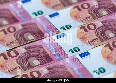 Euro-banknoten Hintergrund. Geld der Europäischen Union. 10 Euro Muster - Stockfoto