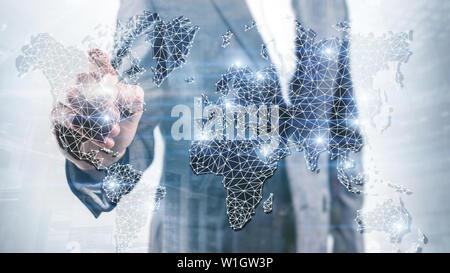 Globale Welt Karte Double Exposure Netzwerk. Telekommunikation, International Business Internet und Technologie Konzept - Stockfoto