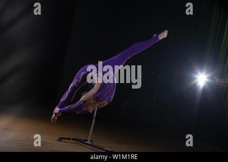 Zirkus Schauspielerin führt die Zahl in einem schönen Rauch. Manuelle Gleichgewicht auf Stöcken. Flexible girl Körper. Leistung eines Air Gymnast in einem Zirkus - Stockfoto