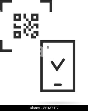 Schwarze dünne Linie QR-Code scannen auf weißem Hintergrund - Stockfoto