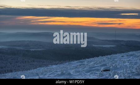 Sonnenuntergang und Winterlandschaft, Schierke, Brocken, Nationalpark Harz, Sachsen, Deutschland - Stockfoto