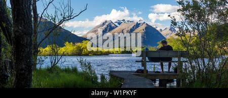 See bei Glenorchy, Otago, Südinsel, Neuseeland, Ozeanien - Stockfoto