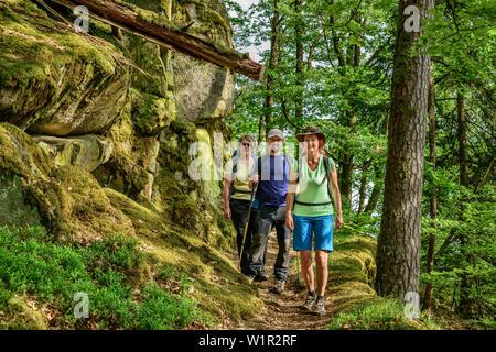 Drei Personen wandern durch Wald, Albsteig, Schwarzwald, Baden-Württemberg, Deutschland - Stockfoto