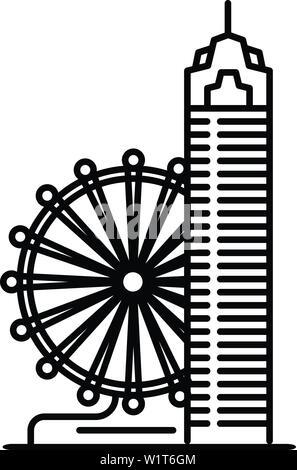 Taipei Riesenrad Symbol. Übersicht taipei Riesenrad vektor Symbol für Web Design auf weißem Hintergrund - Stockfoto