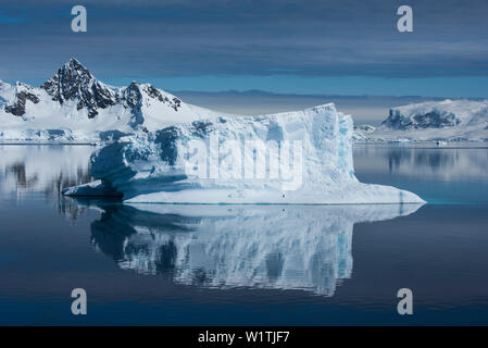 In einem seltenen, kaum Wind - noch Moment, ein Spiegel - Bild von einem grossen Eisbergs erstellt wird, von einem einzigen Zügelpinguin belegt (Pygoscelis antarcticus - Stockfoto