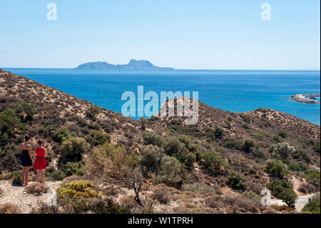 Küstenlandschaft mit Meerblick, Agia Galini, Kreta, Griechenland, Europa - Stockfoto