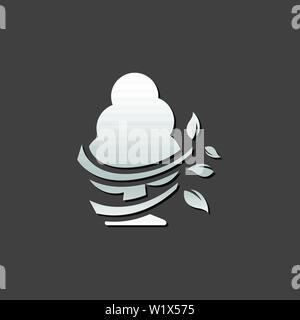 Baum Symbol in metallic grau farbe Stil. - Stockfoto