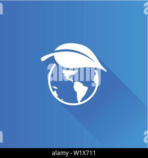 Globus mit Blatt Symbol in der Metro Benutzeroberfläche farbe Stil. Erde Schutz Erhaltung - Stockfoto