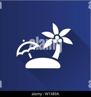 Insel Symbol in der Metro Benutzeroberfläche farbe Stil. Tropischen Strand Meer - Stockfoto