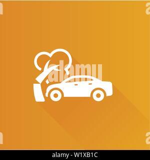 Auto Crash Symbol in der Metro Benutzeroberfläche farbe Stil. Kfz Unfall Incident - Stockfoto