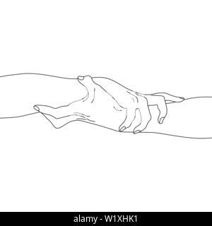Hände halten auf weißem Hintergrund. Team, Partner Alliance Konzept. Skizzieren Beziehung Symbol. Vector Illustration für Ihr Design - Stockfoto