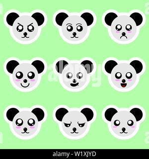 Satz von panda Sticker. Verschiedene Emotionen ausdrücken. Aufkleber im anime Stil. Vector Illustration für Ihr Design. - Stockfoto