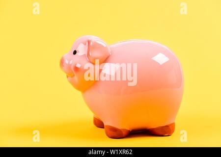 Finanzielle Bildung. Finanzen und Investitionen Bank. Bessere Möglichkeit zur Bank. Sparschwein adorable Pink Pig hautnah. Persönliche Buchhaltung Buchhalter und Familie Haushalt. Piggy Bank Symbol für Geld zu sparen. - Stockfoto