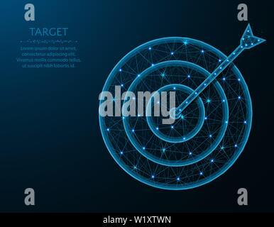 Ziel Low-poly-Design, Pfeil und Ziel in polygonalen Stil, in dem Bullauge Vector Illustration erhalten auf blauem Hintergrund - Stockfoto
