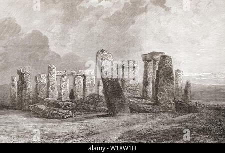 Stonehenge, Wiltshire, England, hier im 19. Jahrhundert. Aus dem Englischen Bilder, veröffentlicht 1890. - Stockfoto