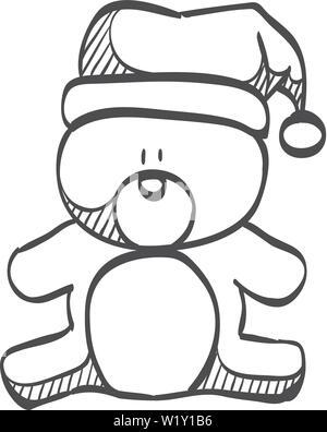 Doodle Weihnachtsfeier.Teddybär Mit Herz Die Weihnachten Zu Gratulieren Stockfoto Bild