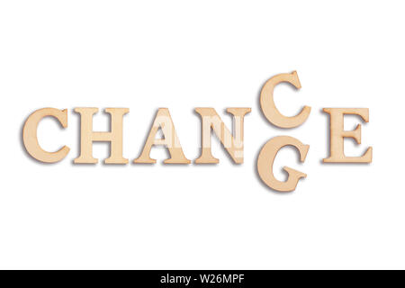 Das Wort 'Ändern' zu 'Chance' auf weißem Hintergrund - Stockfoto
