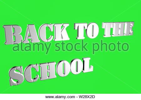 Inschriften auf einem grünen Hintergrund ZURÜCK ZUR SCHULE Weiß Schriftart 3D Rendering illustration - Stockfoto