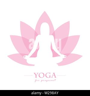 Yoga für Schwangere Frauen Pink Lotus flower Vektor-illustration EPS 10. - Stockfoto